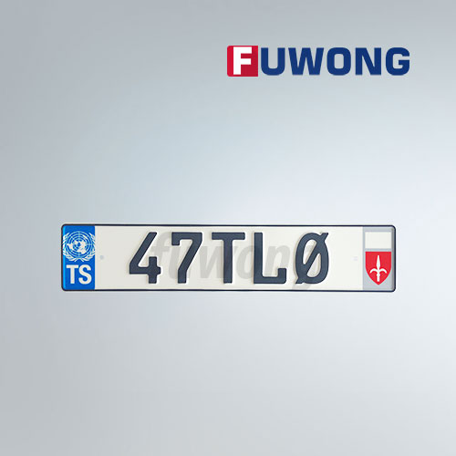 European custom number plate with emblem