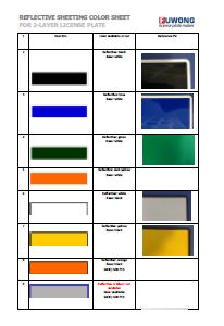 Fuwong 2-Layer car license plate reflective film colors