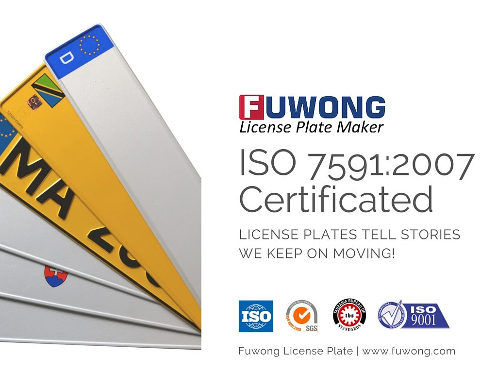 Iso75912007 Certificated Fuwong License Plate