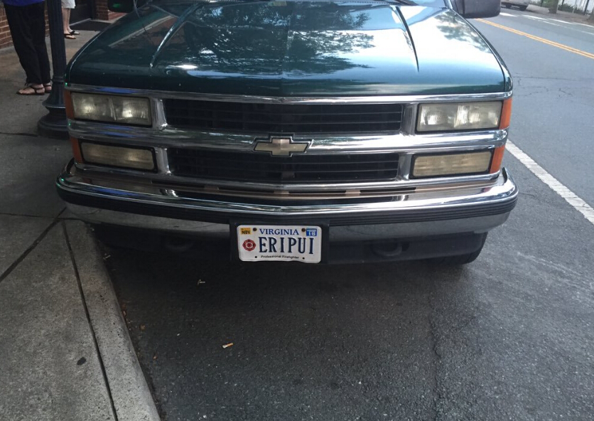 32. ERIPUI - Best License Plate In Charlottesville. Firefighter's Truck,
