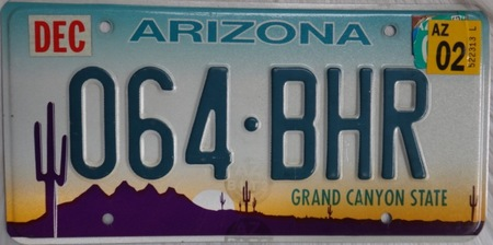 Arizona license plate with state cactus flower