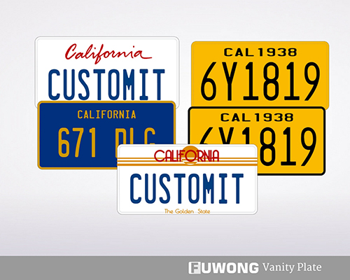 California Personalized License Plate Fuwong Front License Plates