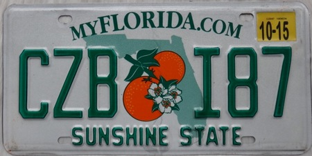 Florida license plate of the state