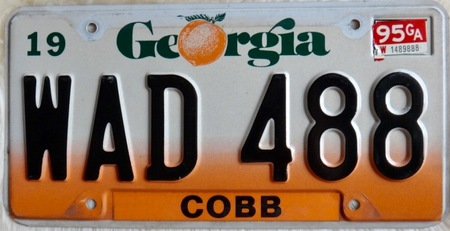 Georgia license plate with peach