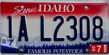Idaho licence plate of car