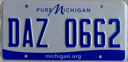 Michigan pressed blue license plate