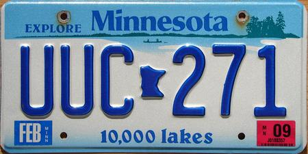 Minnesota license plate with lake design