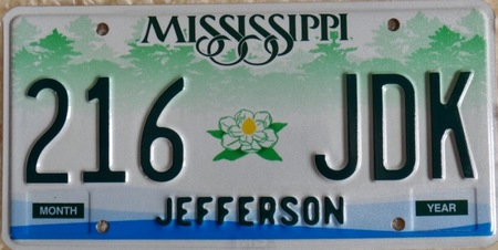 Mississippi car license plate