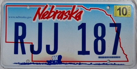 Nebraska license plate with state map