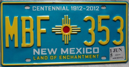 New Mexico US license plate