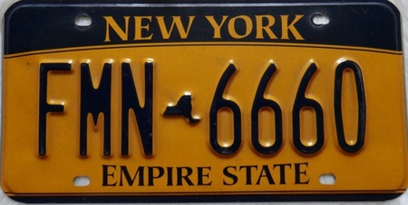 New York car license plate