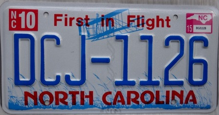 North Carolina license plate with First in flight design