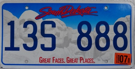 President Hill of South Dakota license plate