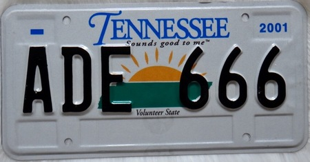 Tennessee license plate sun rising design