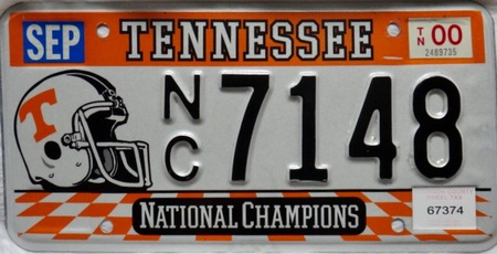 Tennessee national champions license plate