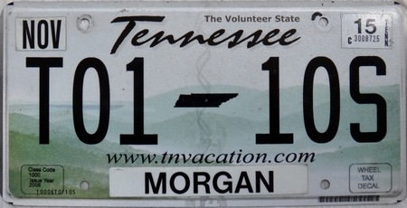 Tennessee license plate of flat license plate