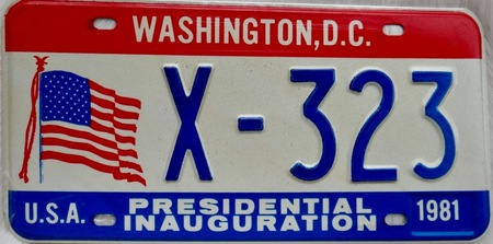 Washington DC license plates with USA flg