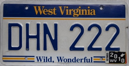 West Virginia plate of state license plate