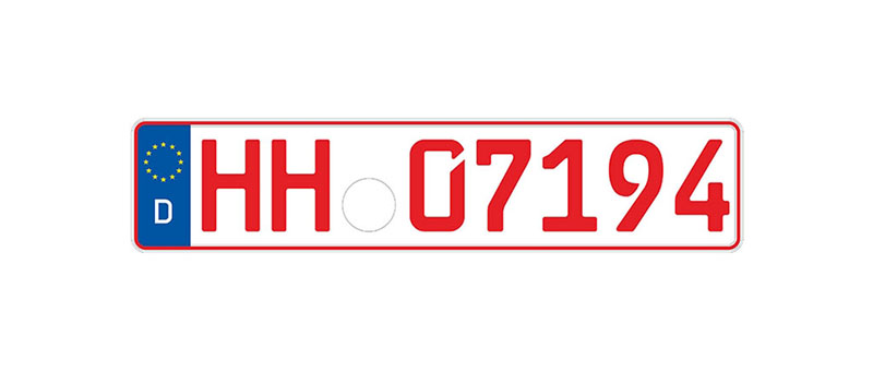 Red Classic car German license plate , Europlates wiki