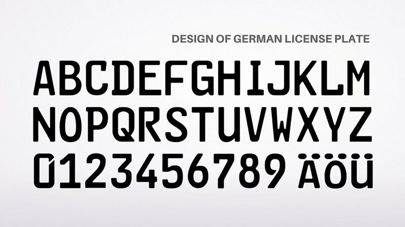 German license plate font, high security