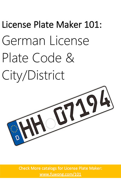 Geman car license plate code and city